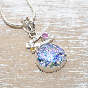 Dichroic glass pendant necklace in a handcrafted sterling silver setting. (N682)