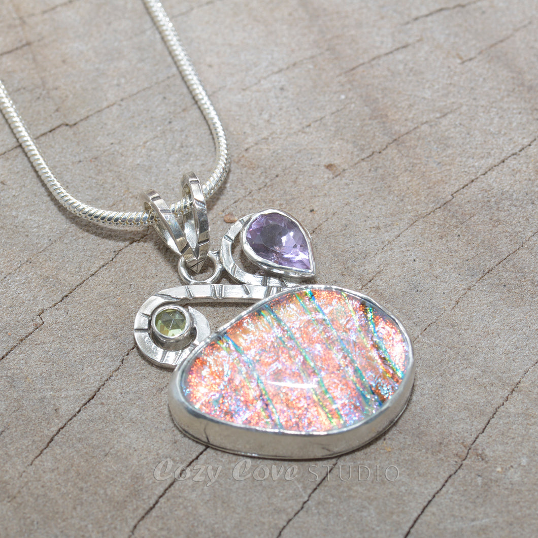 Dichroic glass pendant necklace accented with gemstones in a hand crafted setting of sterling silver. (N683)