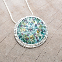 Load image into Gallery viewer, Enamel sea urchin pendant necklace accented with a gemstone in a hand crafted sterling silver setting. (N685)