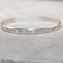 Load image into Gallery viewer, Hand stamped cuff bracelet in sterling silver. (B687)
