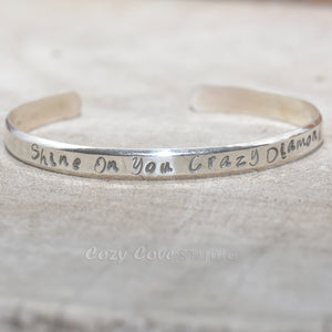 Hand stamped cuff bracelet in sterling silver. (B687)