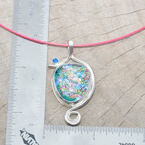 Dichroic glass pendant necklace in a hand crafted setting of sterling silver. (N688)