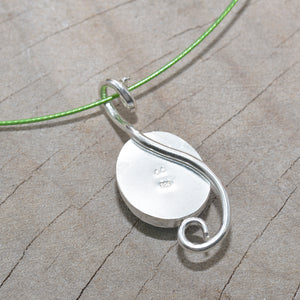 Dichroic glass pendant necklace in a hand crafted setting of sterling silver. (N689)