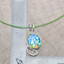 Load image into Gallery viewer, Dichroic glass pendant necklace in a hand crafted setting of sterling silver. (N689)