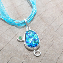 Load image into Gallery viewer, Dichroic glass pendant necklace in a hand crafted setting of sterling silver. (N690)