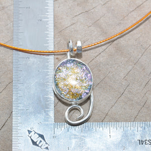 Dichroic glass pendant necklace in a hand crafted setting of sterling silver. (N691)