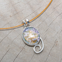 Load image into Gallery viewer, Dichroic glass pendant necklace in a hand crafted setting of sterling silver. (N691)