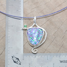 Load image into Gallery viewer, Dichroic glass pendant necklace in a hand crafted setting of sterling silver.