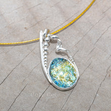 Load image into Gallery viewer, Dichroic glass pendant necklace in a hand crafted setting of sterling silver. (N693)