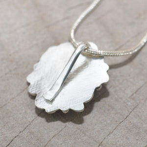 Studded sea glass necklace in a handmade setting of sterling silver (N698)
