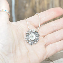 Load image into Gallery viewer, Studded sea glass necklace in a handmade setting of sterling silver (N698)
