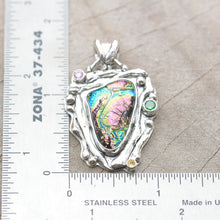 Load image into Gallery viewer, Dichroic glass pendant necklace in a hand crafted setting of sterling silver. (N699)