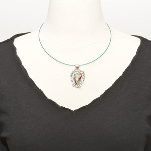 Dichroic glass pendant necklace in a hand crafted setting of sterling silver. (N699)
