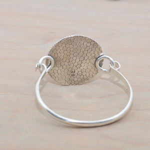 Sea Urchin Enamel cuff bracelet accented with a citrine in a hand crafted sterling silver setting. (B702)