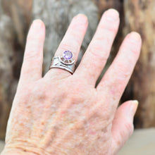 Load image into Gallery viewer, Amethyst ring in a sculptural hand crafted setting of sterling silver. (R703)