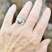 Load image into Gallery viewer, Sparkly cubic zirconia ring in a hand crafted setting of sterling silver. (R705)
