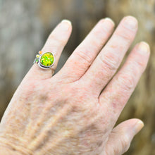 Load image into Gallery viewer, Flashy yellow and green dichroic glass ring in a hand crafted setting of sterling silver. (R708)