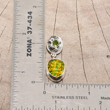 Load image into Gallery viewer, Fiery dichroic glass earrings in  hand crafted sterling silver settings accented with a peridot. (E710)