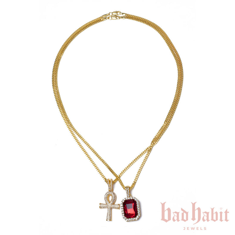 Ankh Ruby Layered Necklace