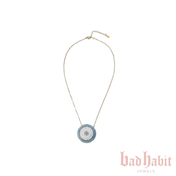 Gold Iced Out Evil Eye Necklace
