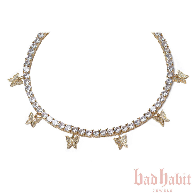 Gold Butterfly Diamond Choker
