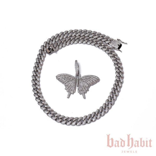 Thick Cuban Link Silver Butterfly Set