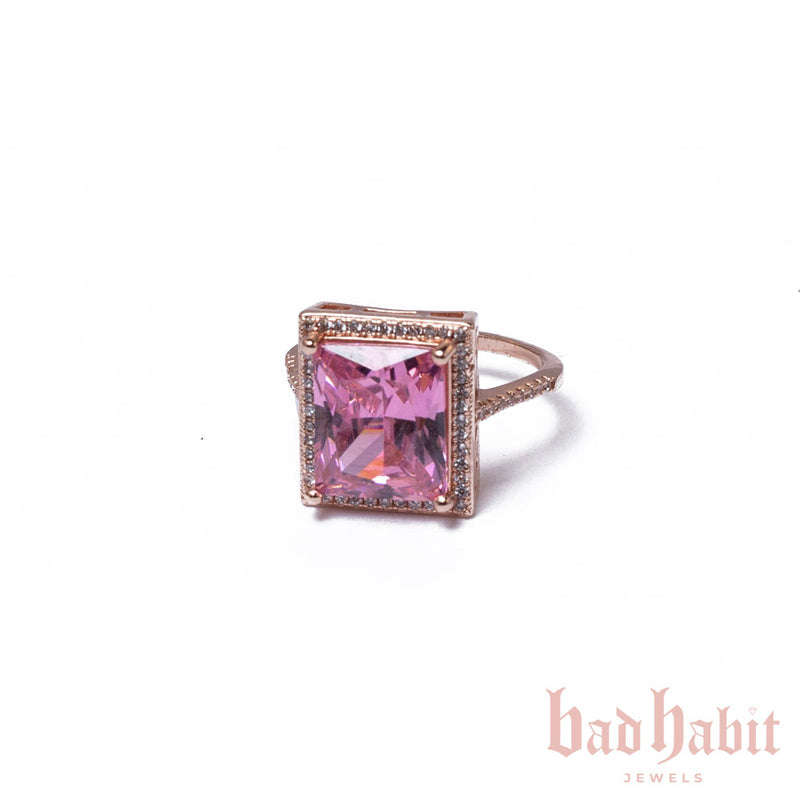 Pink Square Diamond Ring