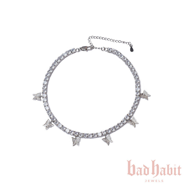 Silver Butterfly Diamond Choker
