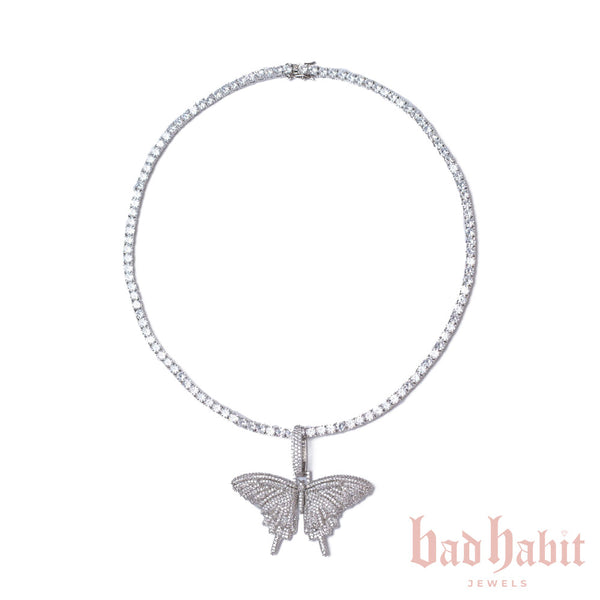 Silver Butterfly Tennis Necklace Set