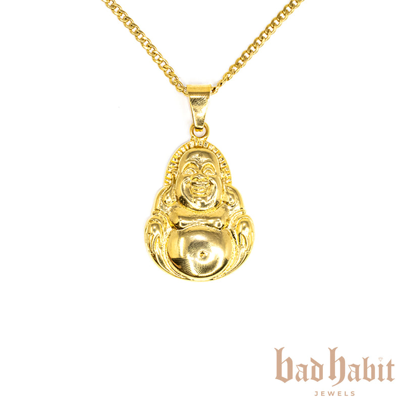 All Gold Laughing Buddha Necklace