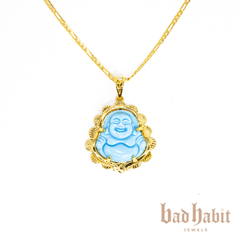 Baby Blue Laughing Buddha Necklace