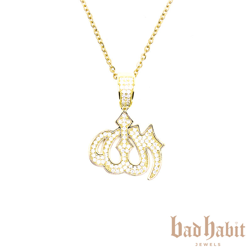 Icy Allah Necklace Gold