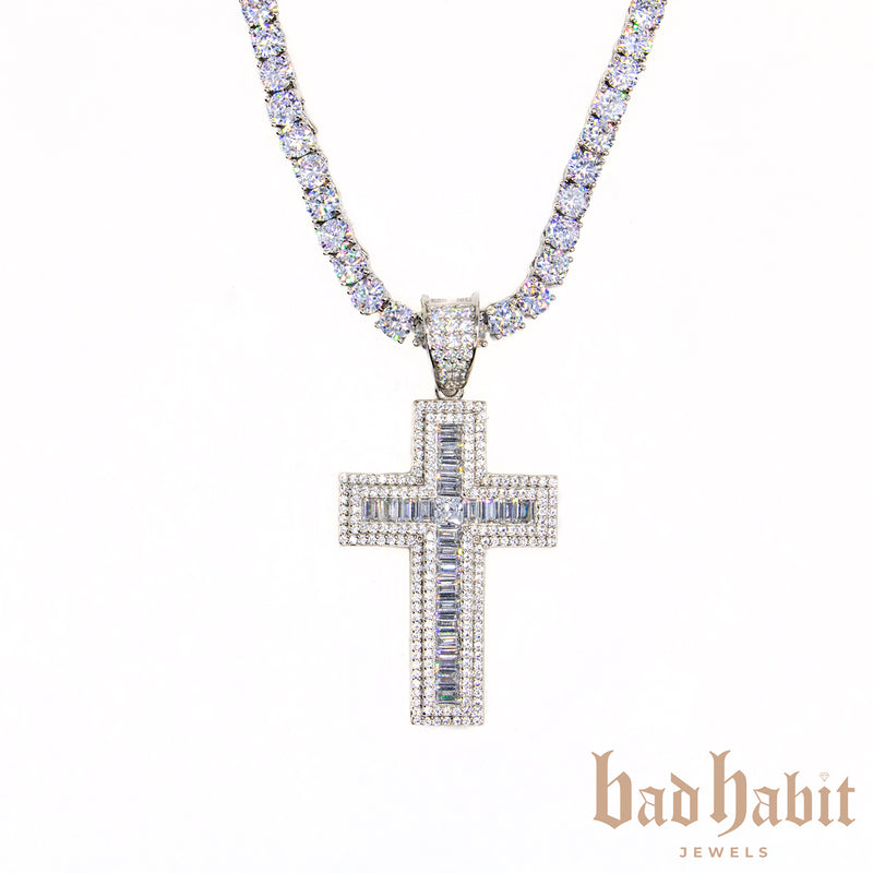 Icy Cross Tennis Necklace