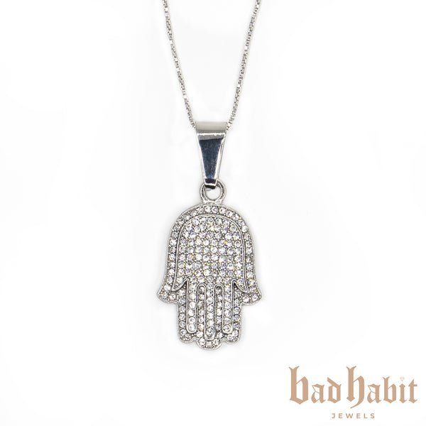 Icy Hamsa Silver Necklace