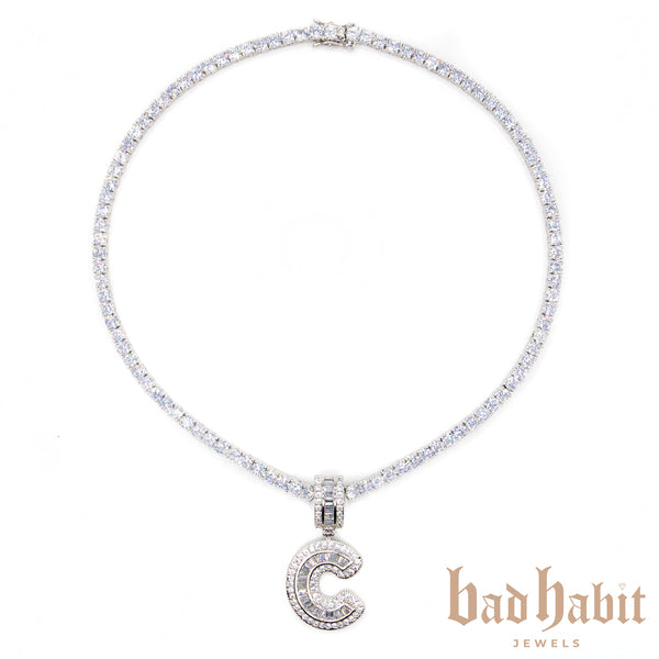 Baguette Custom Initial Diamond Necklace