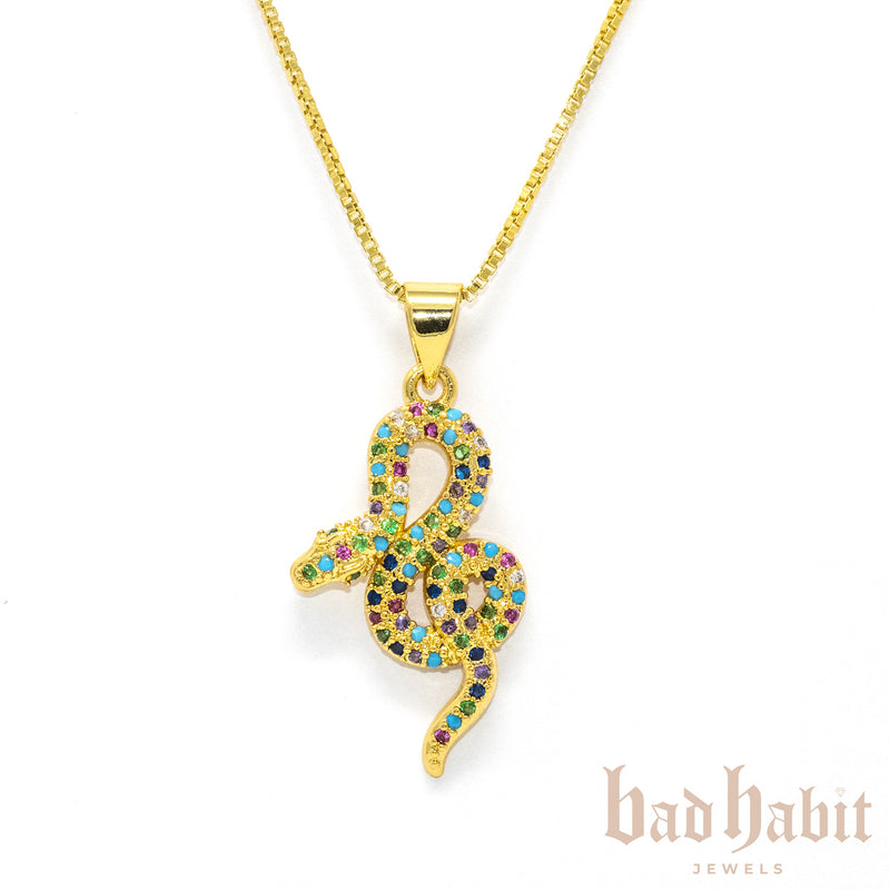 Multi Color Snake Gold Necklace