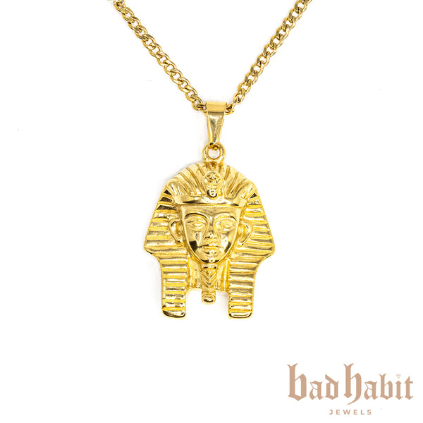 Pharaoh Head Gold Necklace