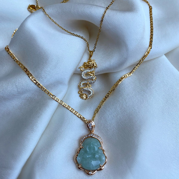 Light Green Jade Buddha Necklace