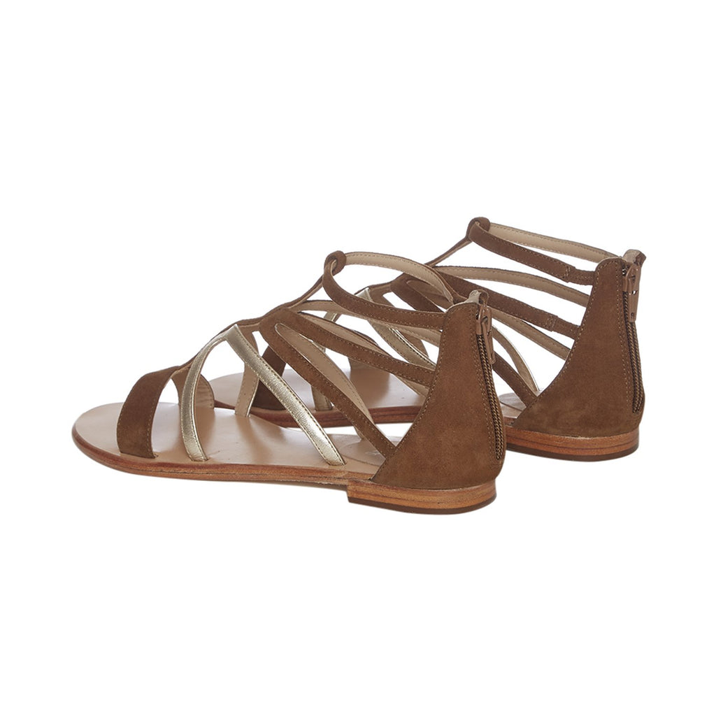 Brown Leather Strappy Flats - SaintG India