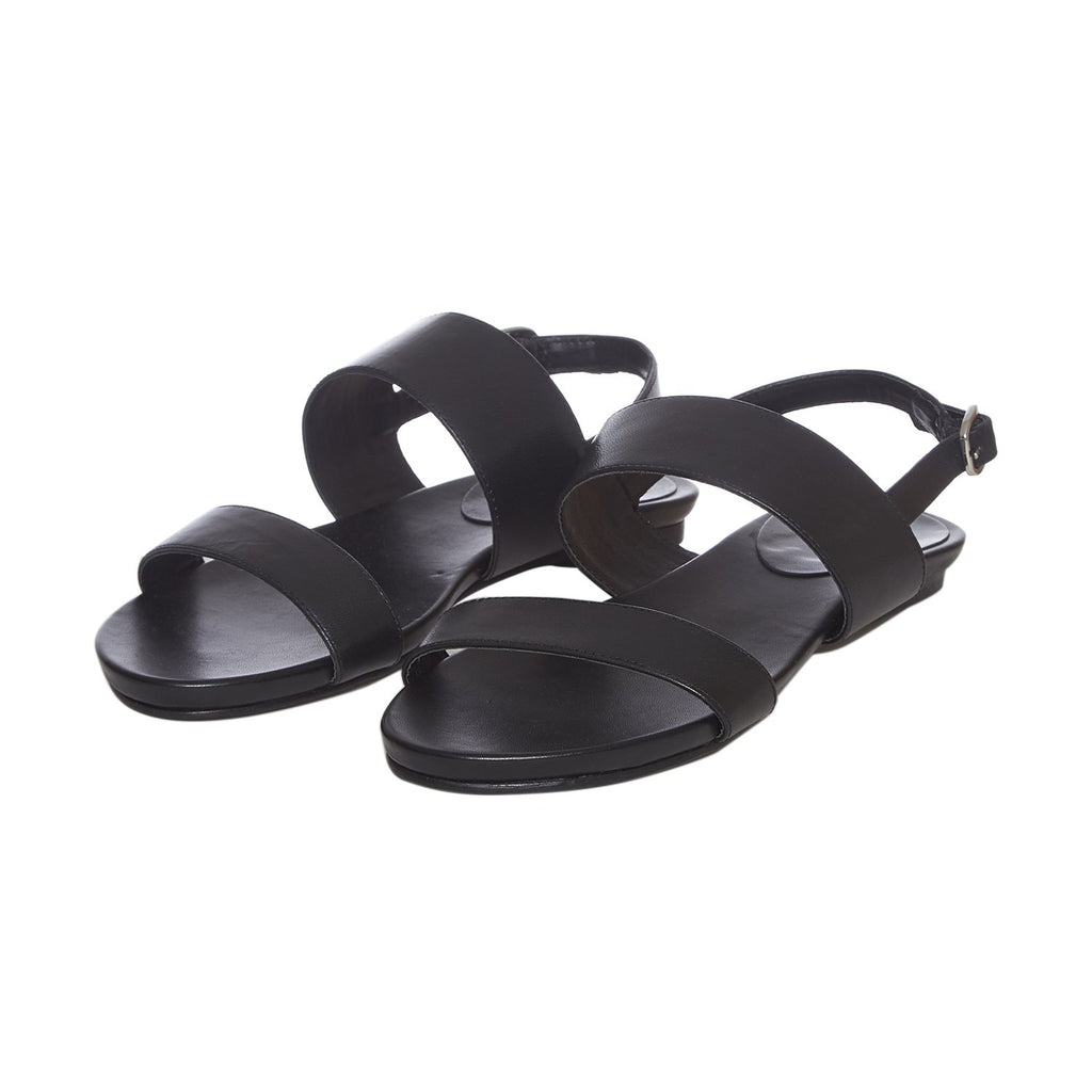 Women Black Solid Leather Open Toe Flats - SaintG India