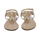 Women Beige Solid Leather Embroidered T-Strap Flats - SaintG India