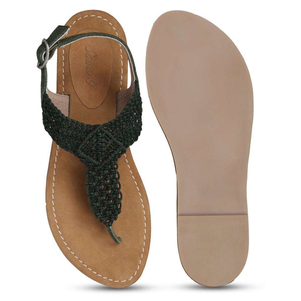 Saint Nicholas Green Leather Flats - SaintG India