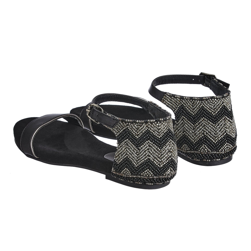 Closed Back Embroidered Leather Flats - SaintG India