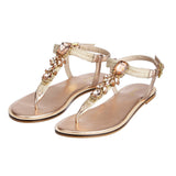 Rose Gold Metallic Leather Flats - SaintG India