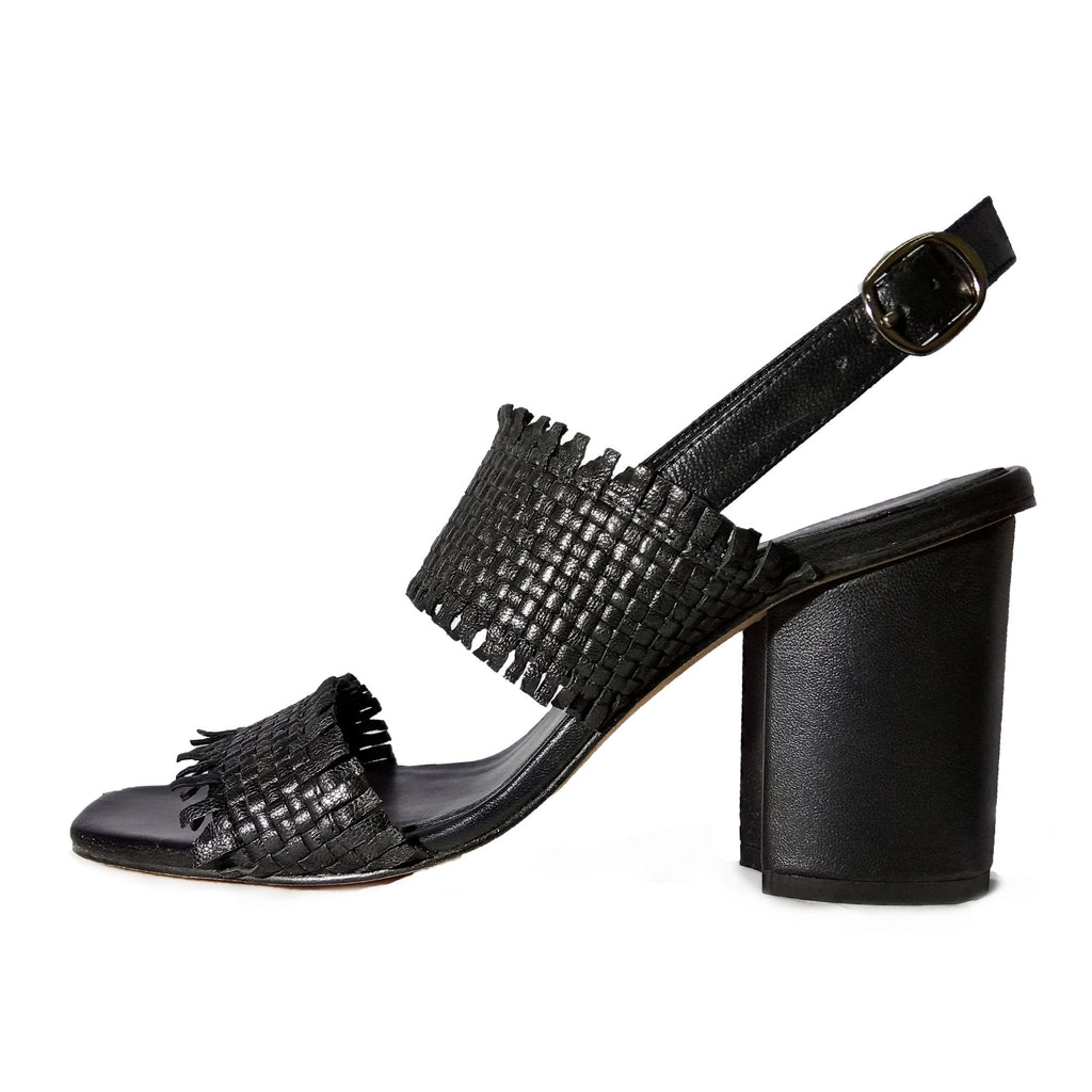Black Leather Woven Block Heels - SaintG India