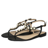 Black Leather Gold Pearl Flats - SaintG India