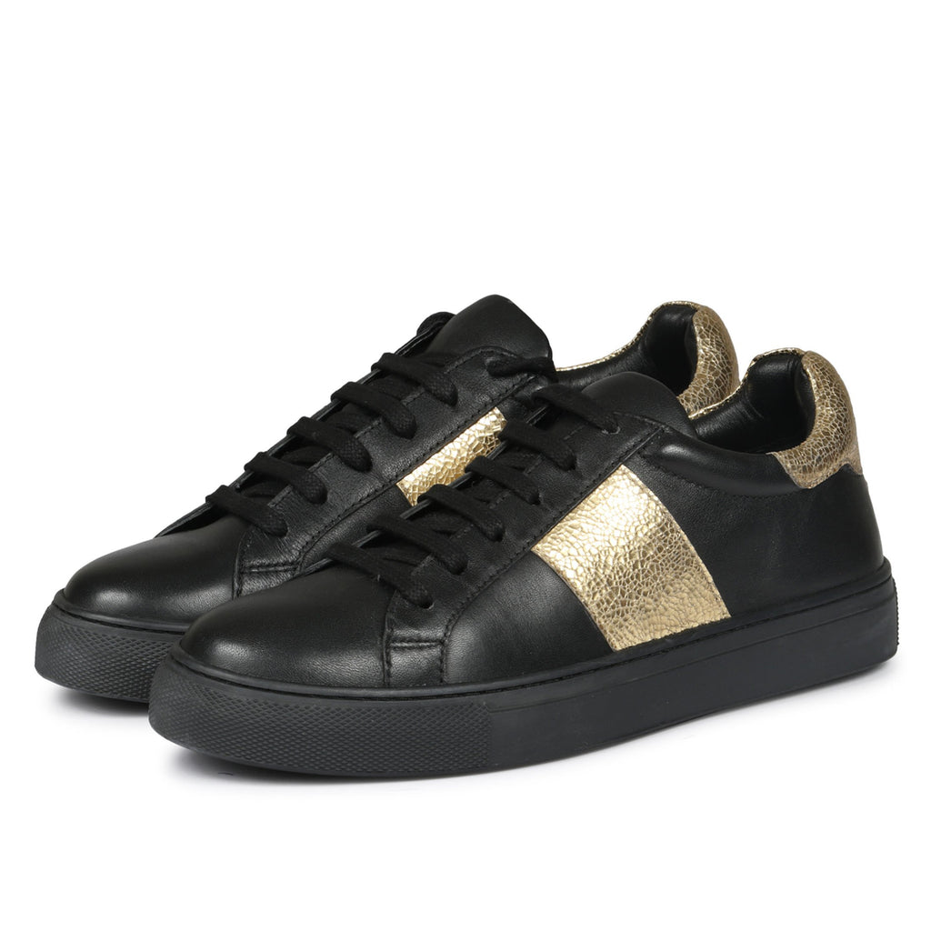Saint Elen Black and Gold Sneakers - SaintG India