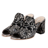 Saint Ruby Embroider Mules - Black - SaintG India