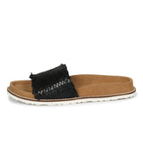 Saint Melania Black Woven Leather Slide - SaintG India