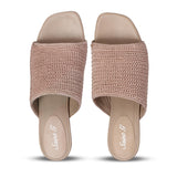 Beige crochet heeled mules - SaintG India